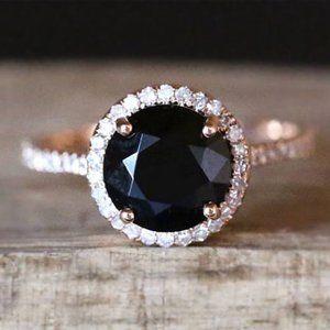 *NEW 18K Rose Gold Diamond Halo Black Onyx Ring